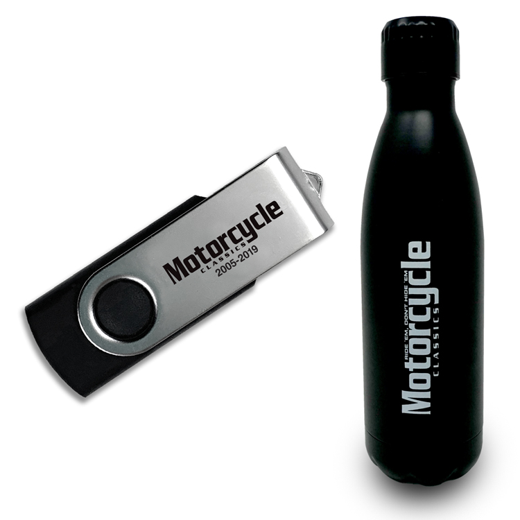 MOTORCYCLE CLASSICS WATER BOTTLE & ARCHIVE SET