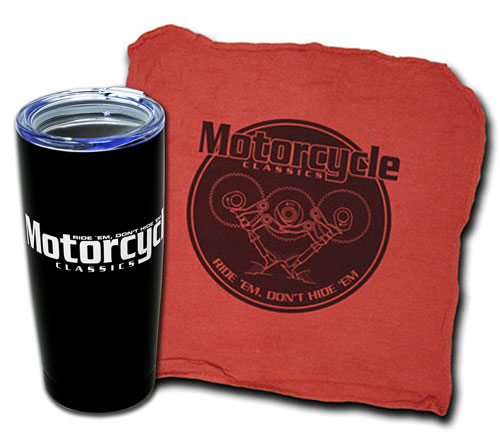 MOTORCYCLE CLASSICS TUMBLER AND SHOP TOWEL